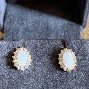 Anthropologie white druzy stud earrings